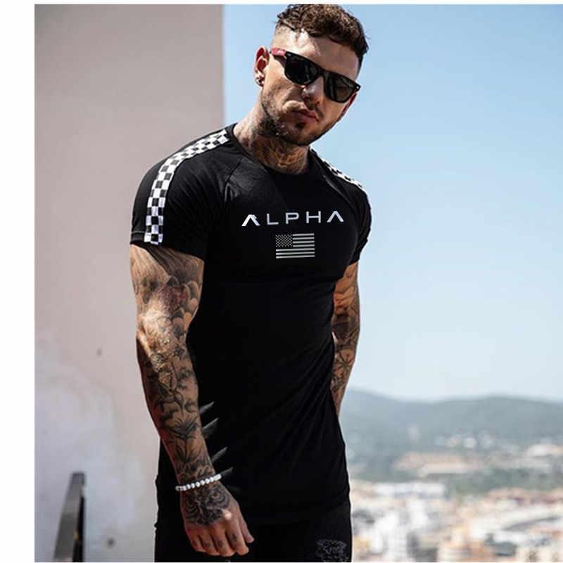 2019 модная футболка с отстрочкой мужская хлопковая дышащая мужская футболка с коротким рукавом для фитнеса футболка для спортзала облегающая Повседневная летняя футболка