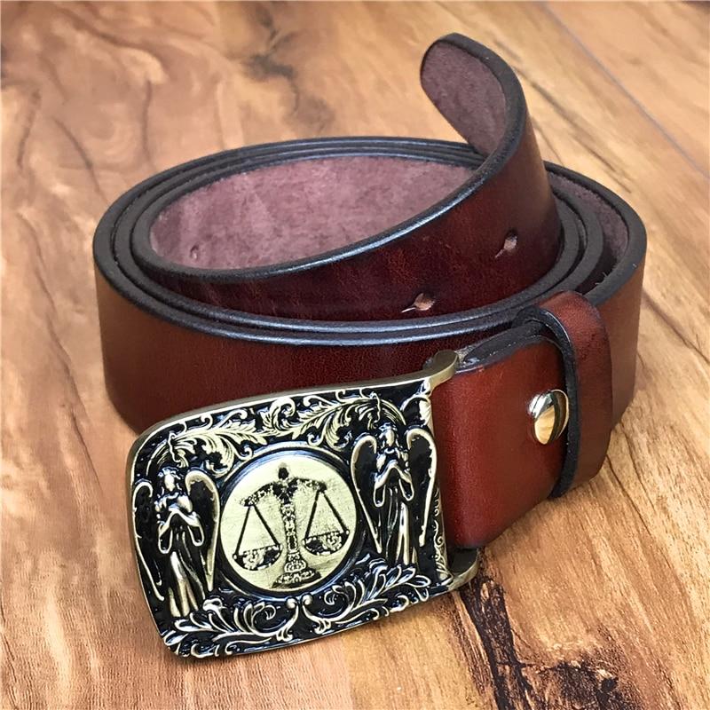 Libra Belt Buckle Quality Thick Genuine Leather Belt Men Jeans Male Strap Ceinture Homme Cinturon Hombre Men Belt Riem MBT0553