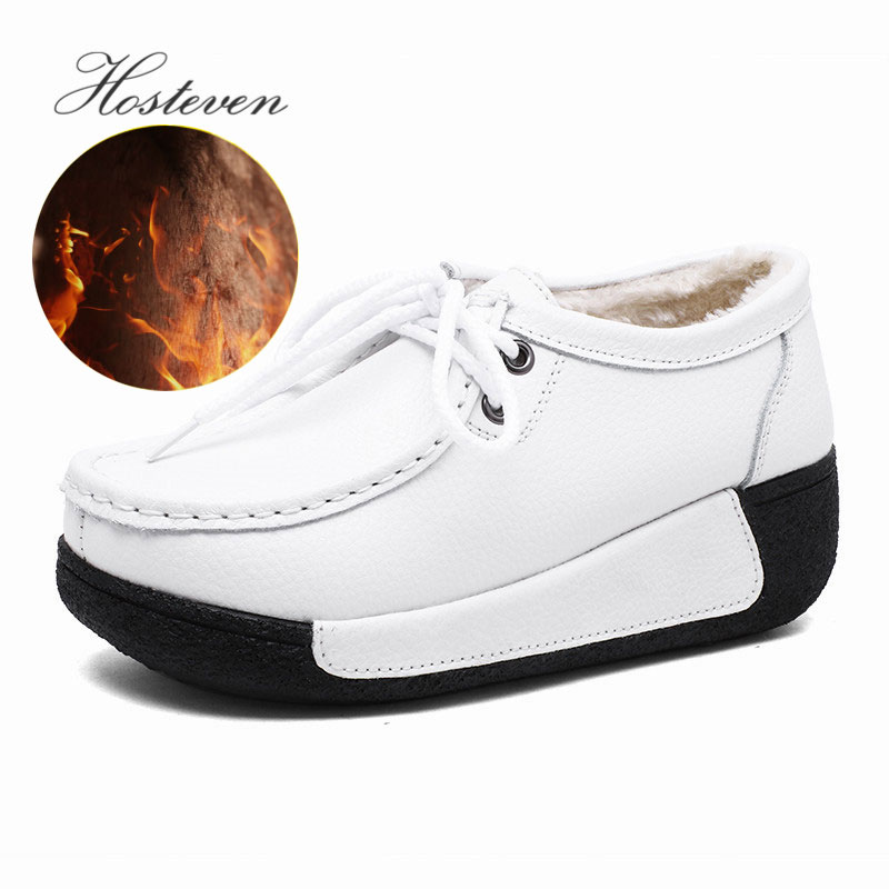 Hosteven Women Shoes Loafers Sneaker Genuine Leather Flats Moccasins Summer Autumn Winter Female Casual Ladies Plush Footware