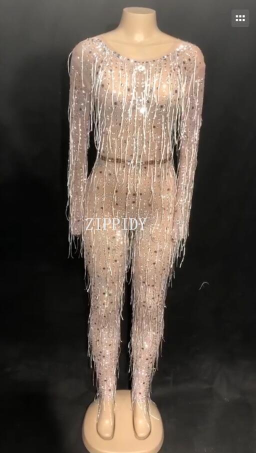Sexy кристаллы кисточкой комбинезон Для женщин пикантные вечерние одежда наряд боди производительность для вечеринки, Дня Рождения Празднов