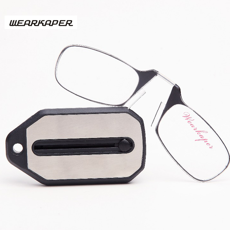 WEARKAPER new Mini Folding Reading Glasses Titanium Glasses Men Oculos De Grau With key ring Original Box 1.0 1.5 2.0 2.5 3.0