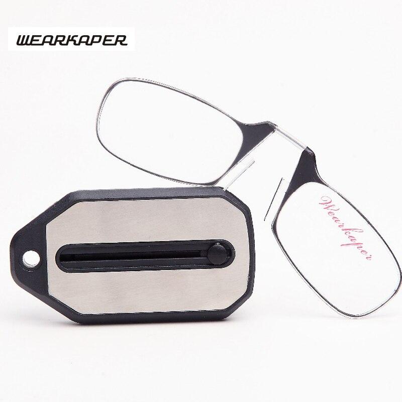 WEARKAPER nouveau Mini Folding Lunettes de Lecture Lunettes En Titane Hommes Oculos De Grau Avec porte-clés Boîte D'origine 1.0 1.5 2.0 2.5 3.0