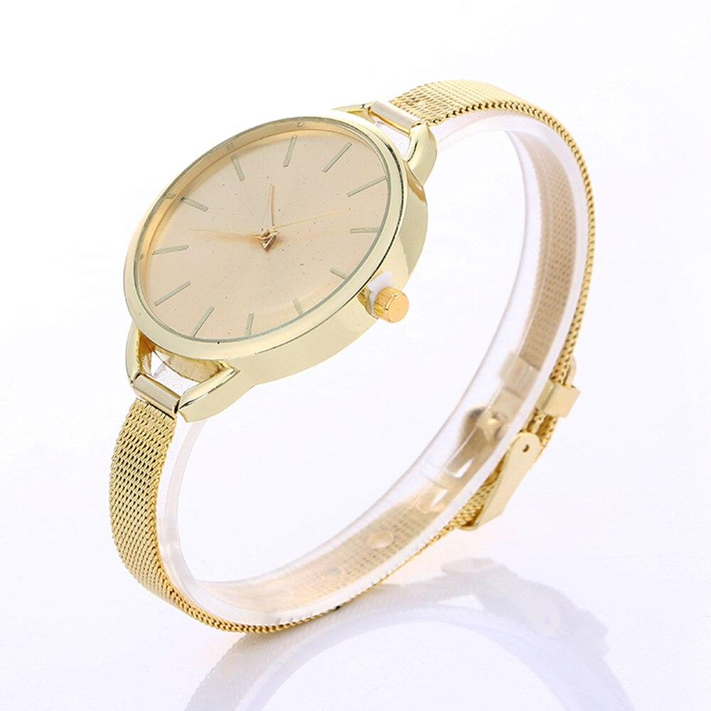 2017 Women's Watches Stainless Steel Mesh Belt Golden Fashion Wristwatch With Waterproof Quartz Female Clock Bracelet Reloje