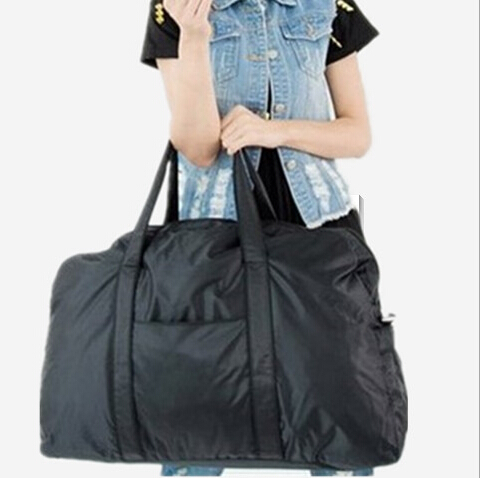 2017 New Men and women travel bags 34L large capacity black duffle carry on luggage light black travel weekend handbags TB00007