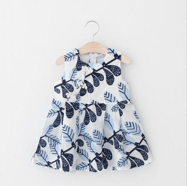 243de8f342 2017 Chinese vintage design baby A-line dress 100% cotton children girls  leaves pattern dresses kids new summer clothing 5p