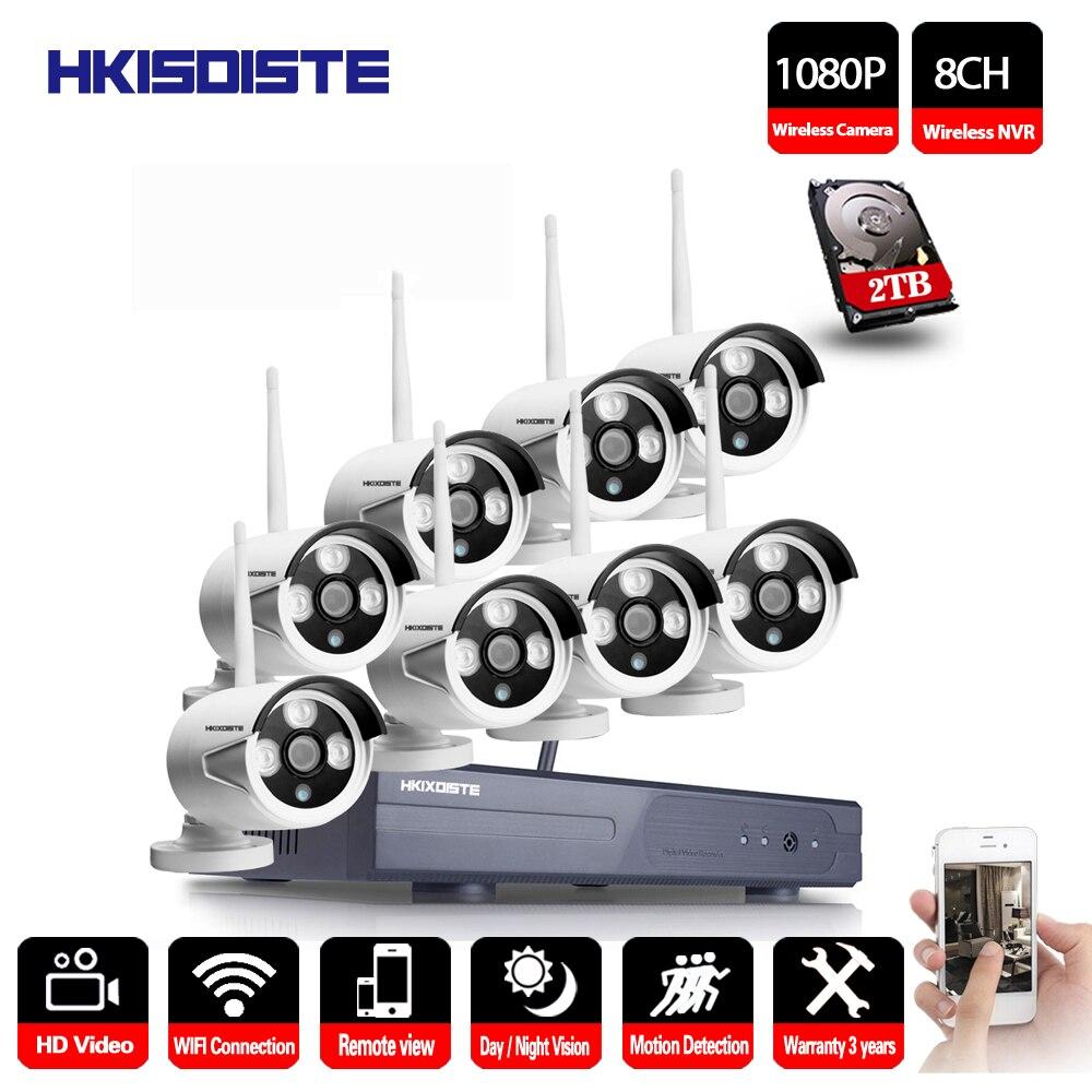 2MP CCTV Système 1080 p 8ch HD Sans Fil NVR kit 1 tb HDD Extérieure IR Vision Nocturne IP Wifi Caméra système de sécurité de Surveillance