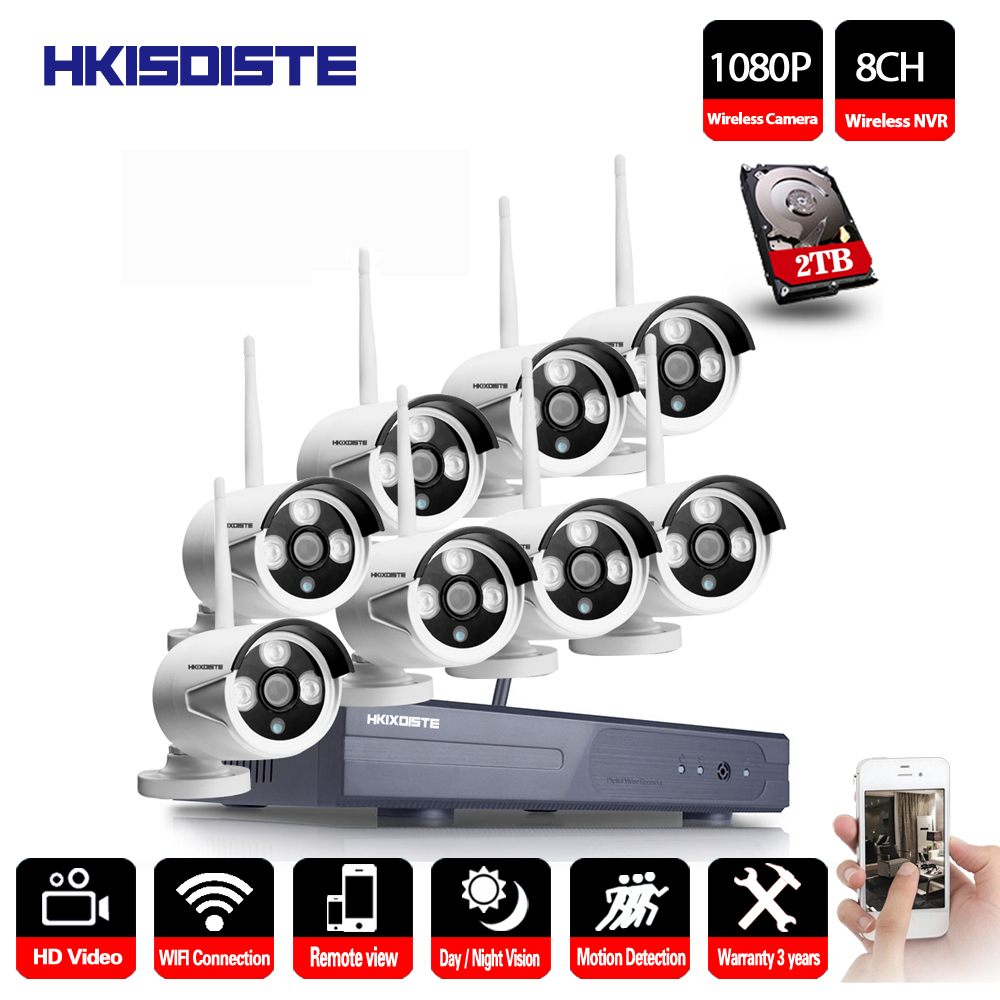 2MP Sistema CCTV 1080 p 8ch HD Wireless NVR kit 1 tb HDD Esterna di IR di Visione Notturna IP Wifi Della Macchina Fotografica sistema di sicurezza di Sorveglianza