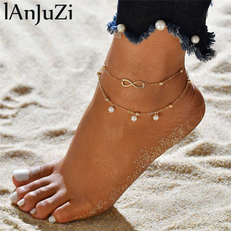 Charm Adjustable Anklet Bracelet Two layers Chains Beach Anklets Peal Women Leg Chain Foot Jewelry Gift for Christmas Day