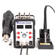 Digital 2 em 1 ventilador de ar quente pistola calor solda ferro 8586d smd bga retrabalho solda desoldering estação 110v 220v reparação de solda