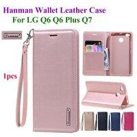 Hanman флип раскладный кожаный чехол для LG q6 плюс Q7 Бизнес веревка для подвешивания серия Натуральная кожа бумажник с отделениями для карт чех...