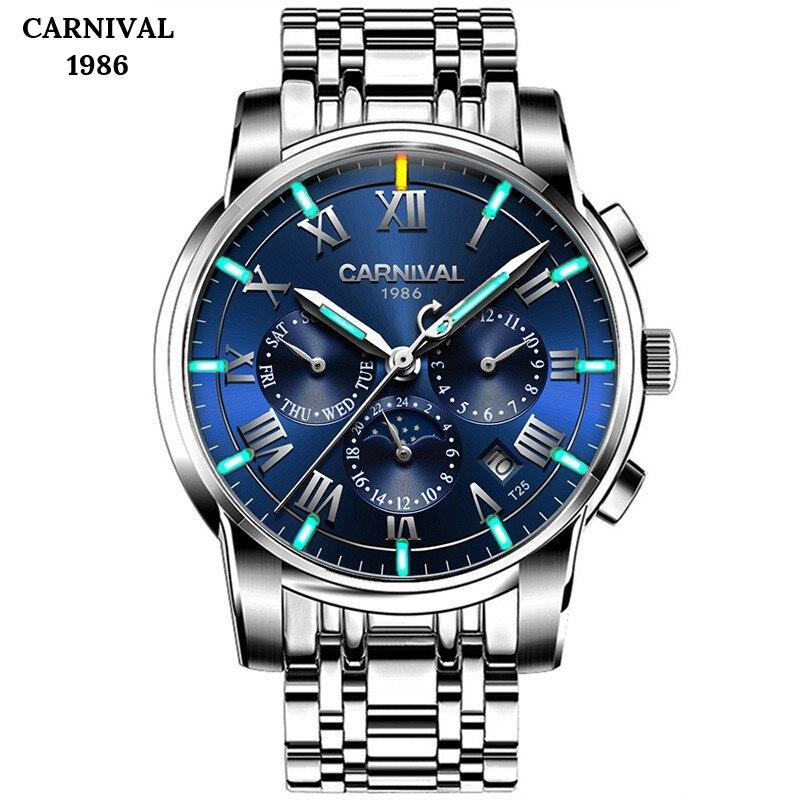High End Relógio Automático Dos Homens Da Forma do CARNAVAL Trítio Assistir Fase Da Lua Calendário Sapphire luminous Completa Aço Relógios Mecânicos