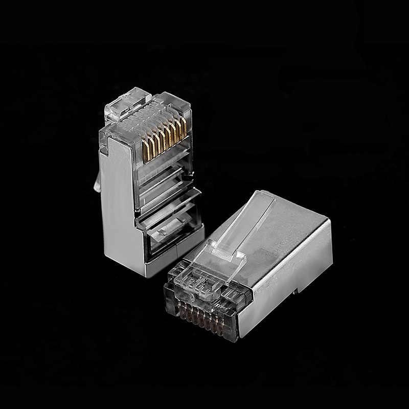 OULLX Cat6 RJ45 fiş Ethernet kablosu konektörü erkek ağ 8P8C 8Pin RJ 45 stp korumalı terminalleri kedi 6 altın kaplama