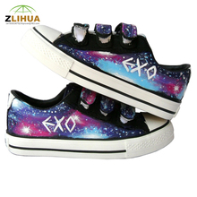 JUP Hand Painted Flat Canvas Shoes for Children Kids Boys  Girls Stars Sky Effect Cartoon Cat Fish Dog Hook & Loop Footwear