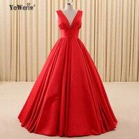 Yewen Elegant Red V Neck Long Evening Dresses 2016 Sleeveless A Line Party Dress Prom Dress