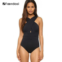 Faerdasi 2017 Sexy Cross Halter Women Swimwear One Piece Swimsuit Black Red Solid Women Bathing Suits
