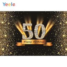 Yeele Happy 50th Birthday Party Photocall Background Gold Diamond Woman Shine Custom Photography Backdrop For Photo Studio