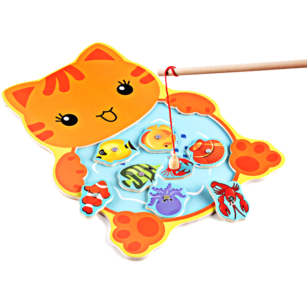 Baby Kids Magnetic Fishing Game Board Wooden Animal Frog Cat Fishing Toy with 2 Fishing Rod Children's Fishing Baby Wood Toys