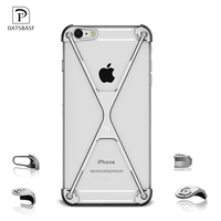 OATSBASF X Shape Phone Case For Iphone 6 6s Plus Luxury Personality Shell Metal Border For