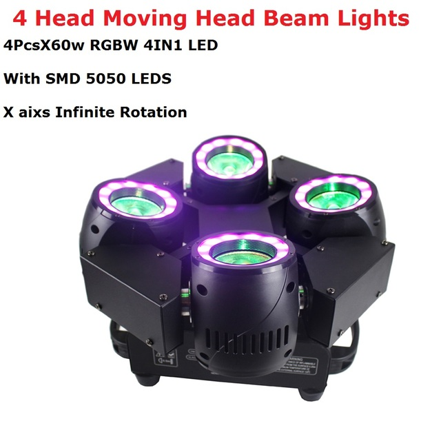 4X60W LED RGBW 4IN1 Wash Lights DMX512 Moving Head Beam Lights With SMD5050 LEDS Professional Dj Bar Show Lights LED Stage Light