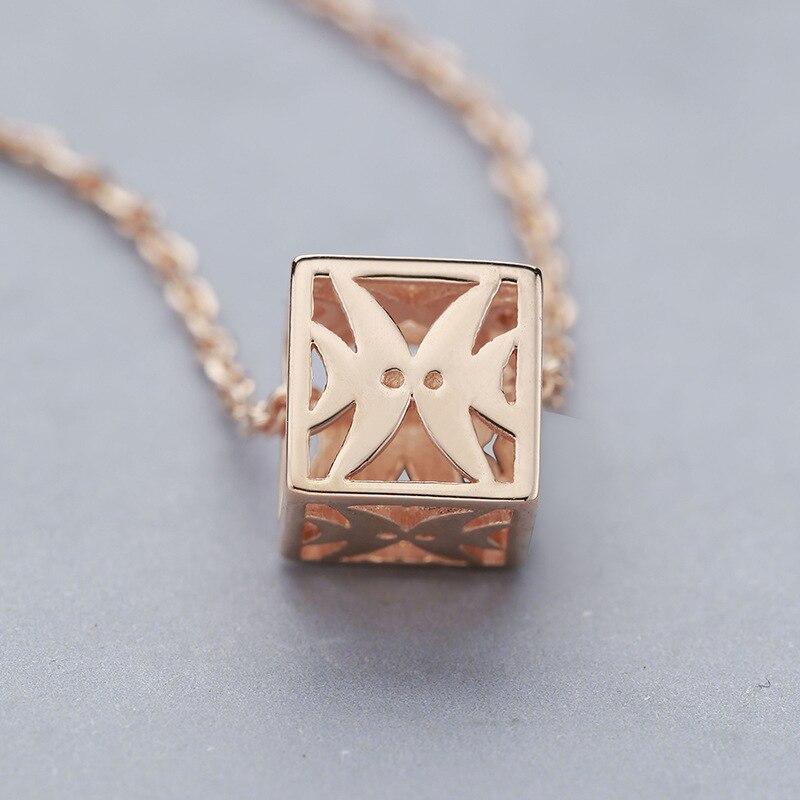S-S925 argent collier femmes mode or rose creux dés ensemble chaîne argent bijoux Femme argent collier pendentif