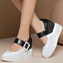 Trainers Women Shoes Ankle Strap Cow Leather High Heel Party Pumps Wedges Platform Oxfords Lady Mary Janes Casual Creepers