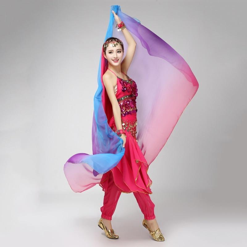 6 Style Gradient Color Belly Dance Veil 220cm*120cm Silk-like Bollywood Dancing Scarf Shawl