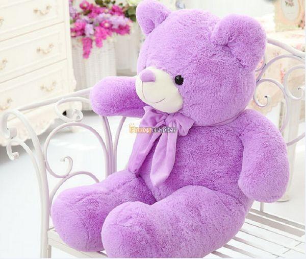 Fancytrader 1 pc 63\'\' 160cm Giant Cute Stuffed Soft Plush Lovely Fat Lavender Teddy Bear, Free Shipping FT50741 (5)