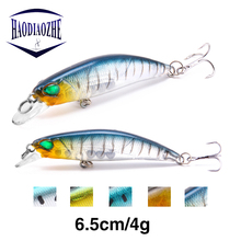 HAODIAOZHE Minnow Fishing Lure 6.5cm 4g High Quality 2 Bass Hooks Lifelike 3D Eyes Crankbaits Isca Pesca Tackle YU304