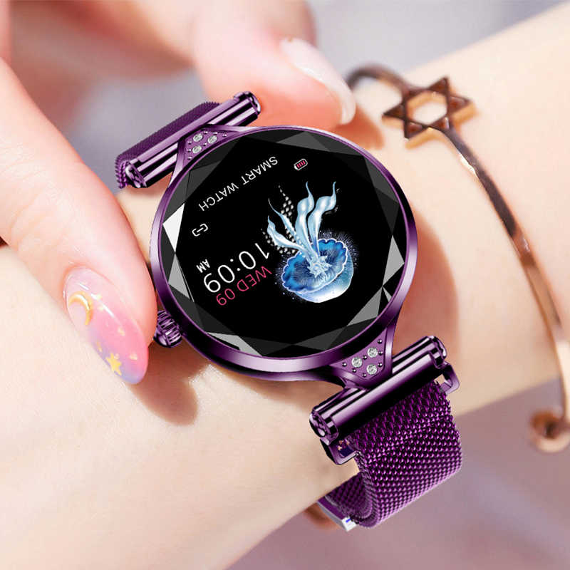 2019 OGEDA H1S נשים אופנה Smartwatch לביש מכשיר Bluetooth פדומטר קצב לב צג עבור אנדרואיד/IOS חכם צמיד