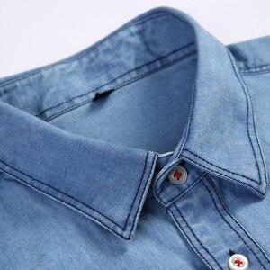 Image 2 - Mens רגיל fit ארוך שרוול ג ינס לעבוד חולצה שני כפתור קדמי חזה כיסים & עיפרון חריץ מחוספס ללבוש דק מזדמן כותנה חולצות