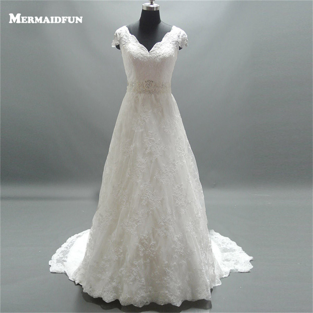 2019 Real Photos A Line See Through Back V Neck Cap Sleeve Beading Belt Sweep Train Wedding Dress Bridal Gown