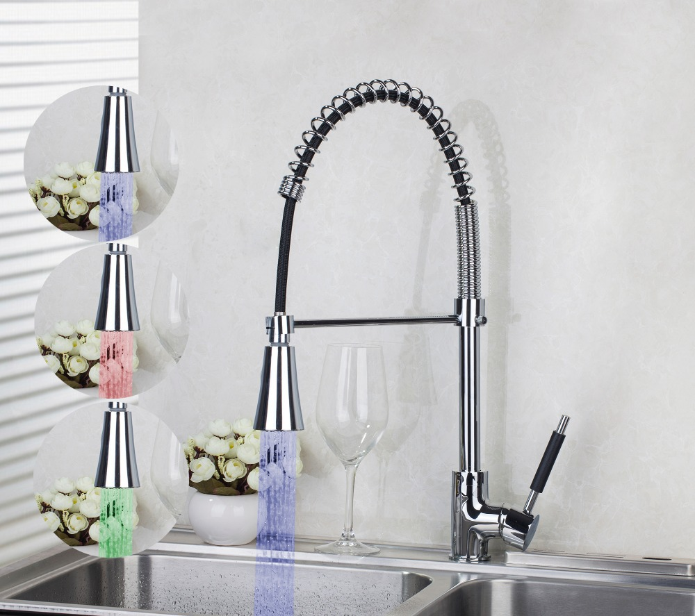LED Colors Changing 540mm 8538-2 Chrome Kitchen Pull Out Down Brass Swivel Vessel Sink Mixer Tap Kitchen Faucet good quality wholesale and retail chrome finished pull out spring kitchen faucet swivel spout vessel sink mixer tap lk 9907
