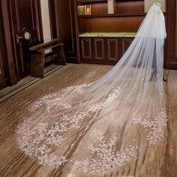 Bruids accessoires 3 M x 3.3 M Bloem Kant Applicaties tulle Applicaties Edge wedding veil Bridal 2019 bruiloft sluier Sluier met Kam