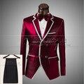 2015 del juego del hombre varón vestido formal del novio traje ropa chaqueta pantalones desgaste de la etapa para cantante novio dancer rendimiento fiesta de emcee