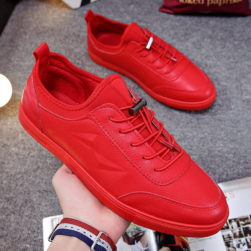 Spring Red Shoes Men Sneakers Leather Casual Flats Comfortable Men Lace-up Male Walking Sneakers Mens Trainers Tenis Hombre Shoe sneakers