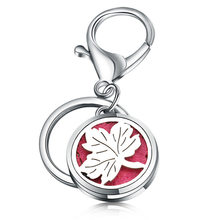 Charm High Quality Maple Leaf Perfume Key Chain 361L Stainless Steel Essential Oil Diffuser Perfume Aromatherapy Locket Jewelry(China)