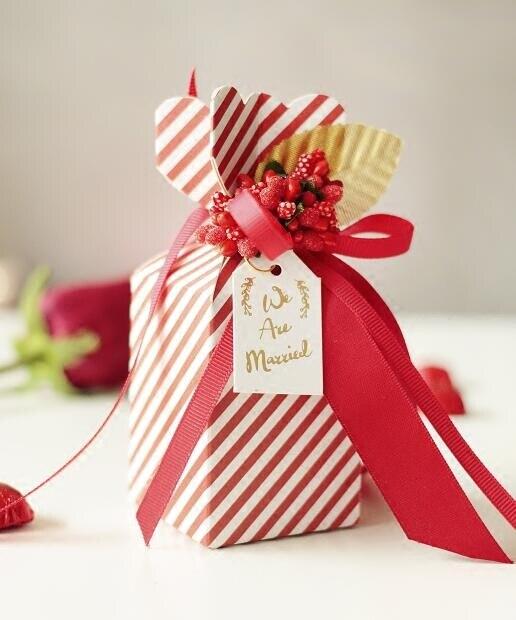 2017 Nuevas Cajas de Caramelos de Papel Rayado Rojo y Blanco - Para fiestas y celebraciones - foto 4
