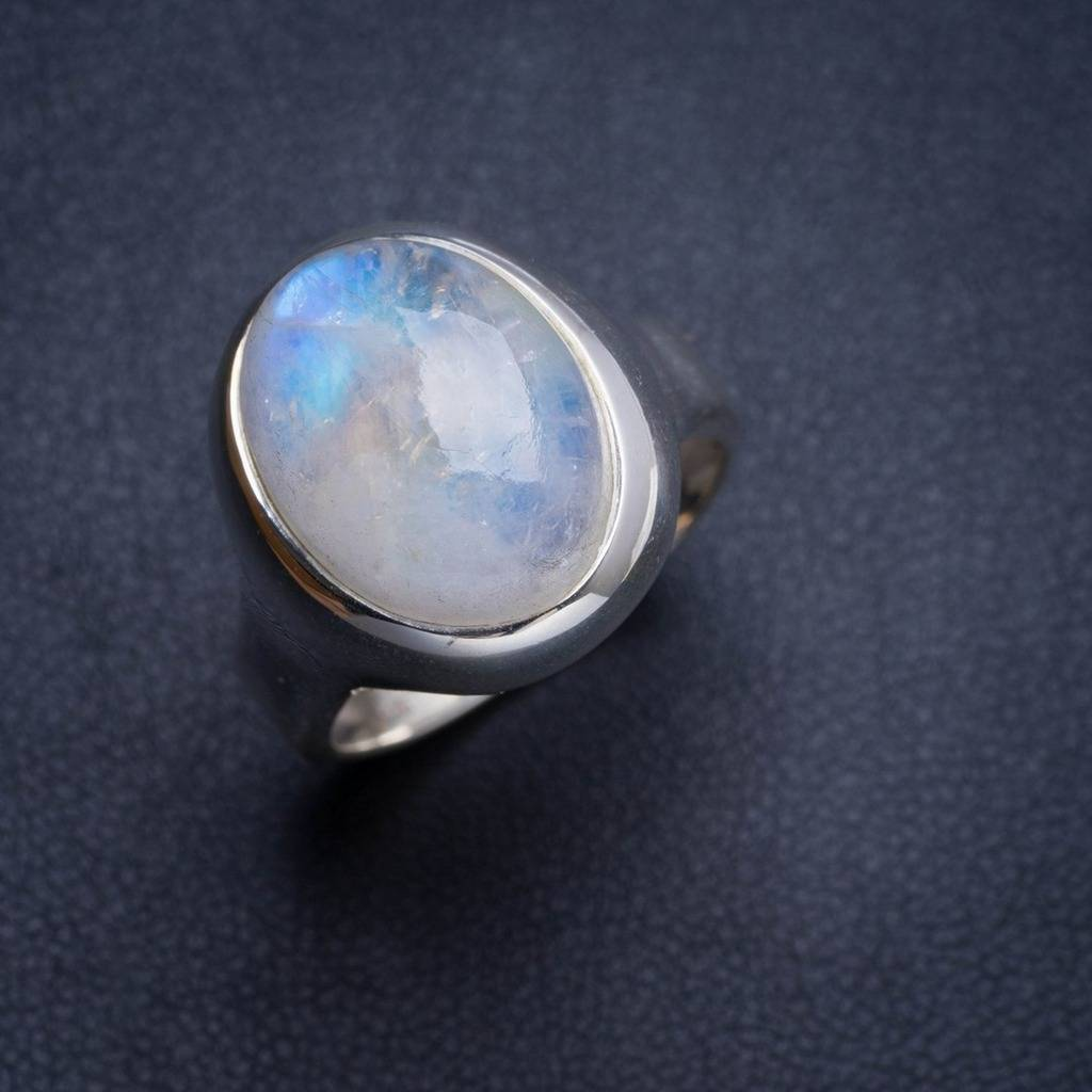 Natural Rainbow Moonstone Handmade Unique 925 Sterling Silver Ring 7.75 Y4502 natural rainbow moonstone handmade unique 925 sterling silver ring 6 75 y4681