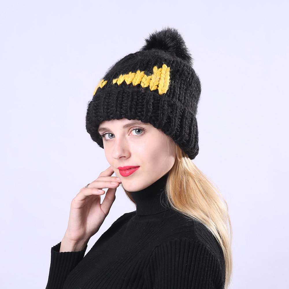 a69871f2e2803 2018 hat female beanie women warm hairball eyes winter plus velvet print ear  protector slouchy hat