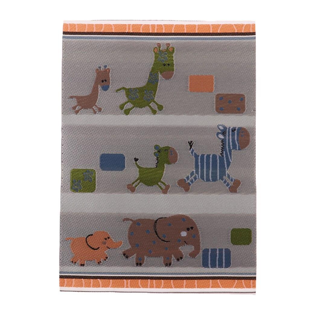 1//12 Dollhouse Miniature Rug Cartoon Animals Carpet Floor Mat Decoration