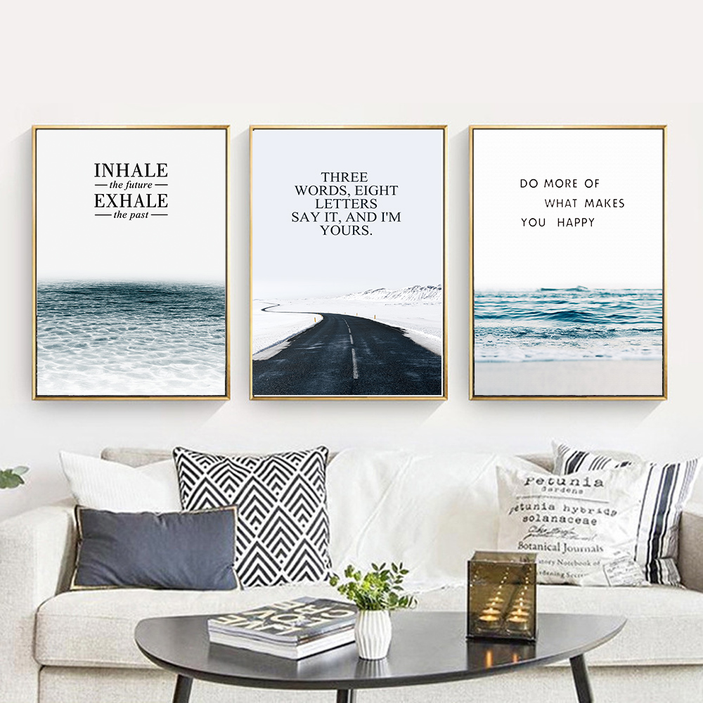 Inhale And Exhale Sea Beach Road Nordic Canvas Art Print Painting Inhalation Exhalation Diagram 15 Inhalationexhalation Posters Wall Pictures For Living Room Office Home Decor In Calligraphy From