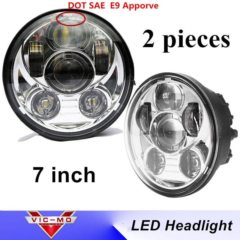 2PCS 7 Chips LED Daymaker Headlight for Jeep Wrangler CJ JK 7 Inch Leds Driving Light fit Land Rover Defender H4 H13 Headlights