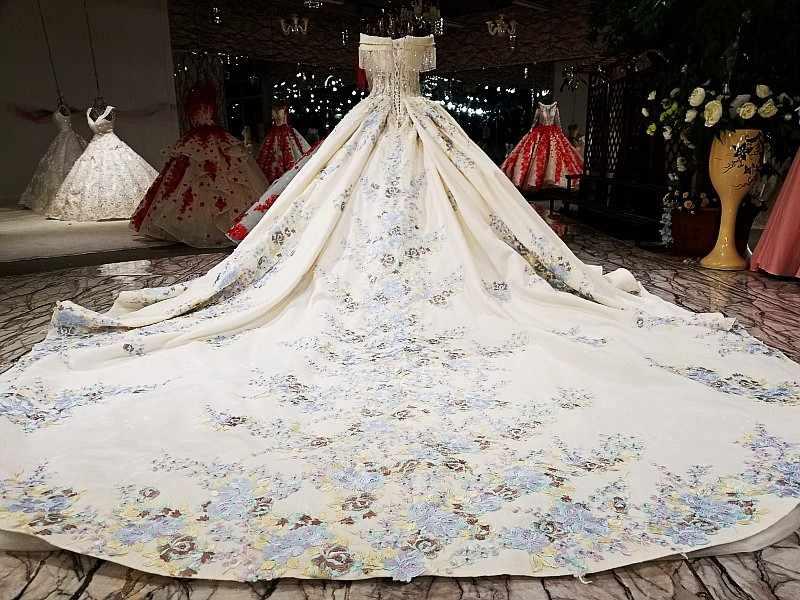 LS09476 2018 бальное платье свадебное платье с цветными цветами от плеча возлюбленной свадебные мантии с длинным поездом как фотографии