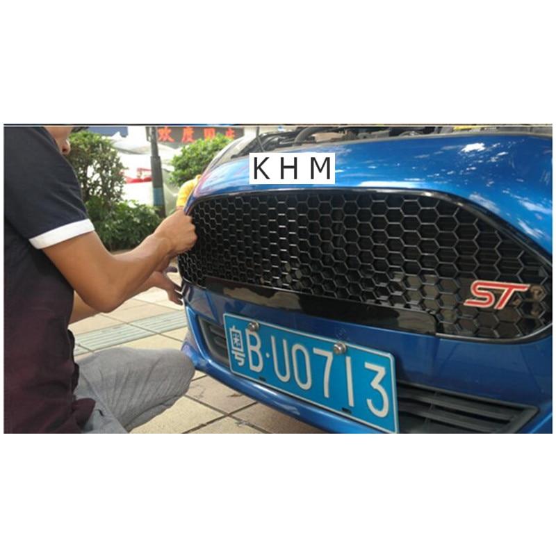 ABS   Front grille Black Varnish ST Refitting Grill for Ford Fiesta 2013-2015 s line sline front grille emblem badge chromed plastic abs front grille mount for audi a1 a3 a4 a4l a5 a6l s3 s6 q5 q7 label