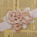 Fashion Burn flower sash belt women belt kids girl sash belt Wedding Belt Beige