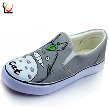 JUP Cartoon Kids Boys Girls Cartoon  Black White Despicable Me Minion Totoro Panda Hand-painted Canvas Shoes Female Casual Shoes