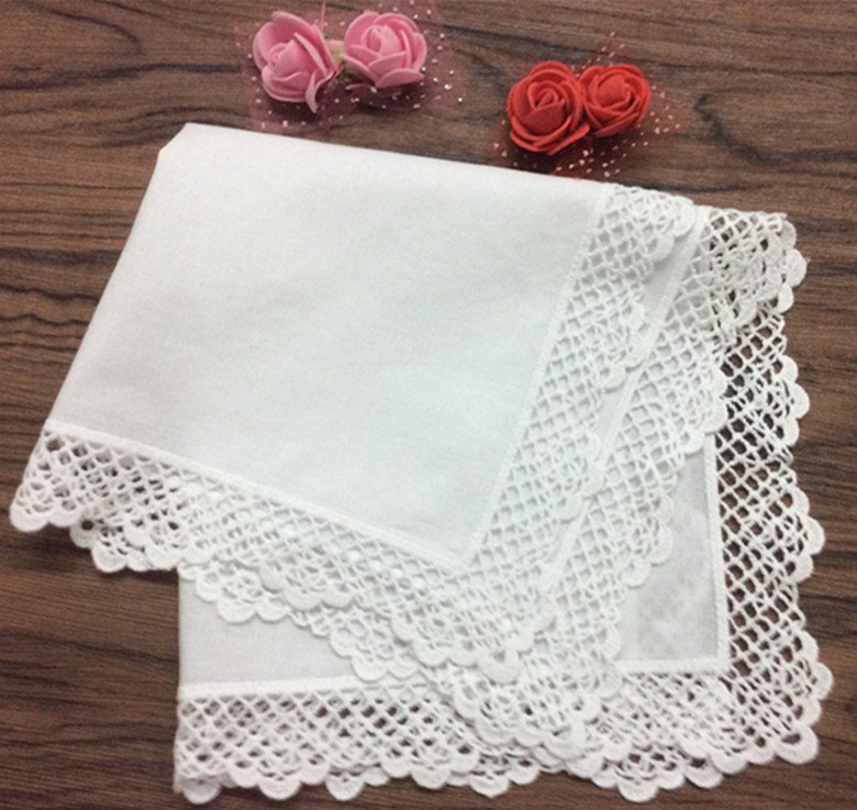 Set Of 12 Fashion Women's Handkerchiefs Cotton Wedding Handkerchief Embroidery Vintage Lace Edges Hankies Hanky For Bride 12x12
