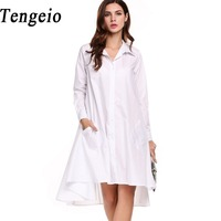Tengeio Women Casual Turn Down Collar Shirt Dress Long Sleeve Solid Button Pleated Asymmetrical Hem Summer
