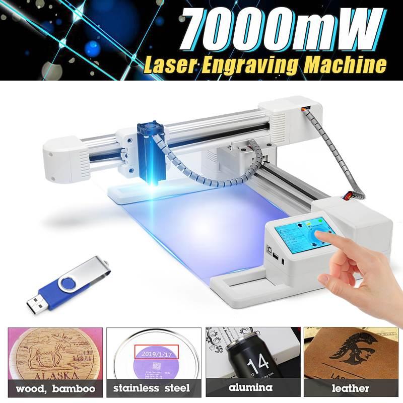 3000 mw/7000 mW bricolage ordinateur Laser graveur en acier inoxydable Laser Cutter Machine de marquage Logo marque imprimante pour windows-97/3/7/8/10