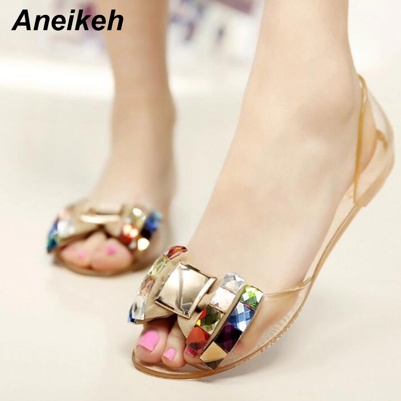 e5728705d48d Detail Feedback Questions about Aneikeh Women Sandals Summer Style Bling  Bowtie Jelly Shoes Woman Casual Peep Toe Beach Sandal Crystal Flat Shoes  Size 35 40 ...